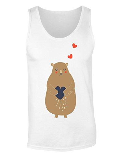Cute Drawing of A Bear Holding Heart Damen Tank Top Medium