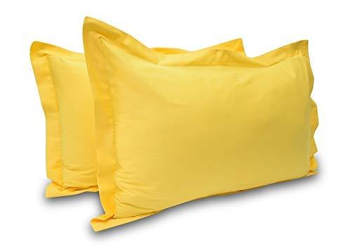 100% ägyptische Baumwolle Hotel Qualität 2-teilig kissenrollen Fadenzahl 600Milbenabweisend Solide Muster alle Größe & Farben, baumwolle, gelb, Standard 20