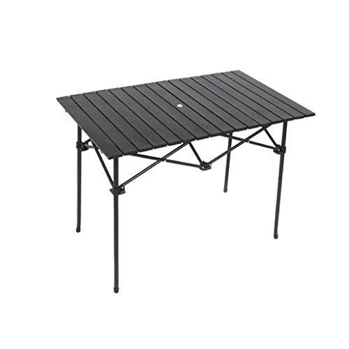Betty Tabelle Faltbare tragbare Aluminiumlegierung Esstisch mit Regenschirm Loch Tisch Home Outdoor Tisch, 95x68x69cm -