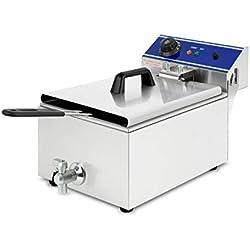 Vertes 10L Friteuse électrique professionnelle en Acier Inox (3000W, Robinet de Vidange, Contrôle de la température automatique, Protection contre les débordements)