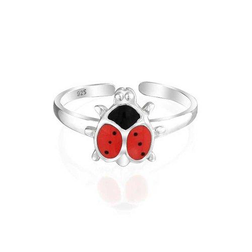Bling Jewelry Glück Rot Schwarz Marienkäfer Form Garten Midi-Dünne Band Zehe Ringe Für Damen 925 Sterling Silber Verstellbar