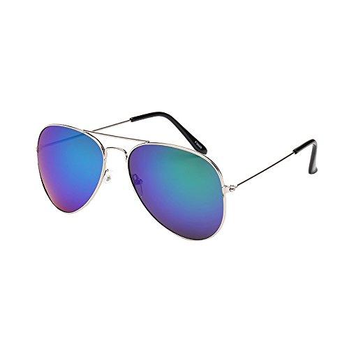 Lazzboy Frauen Männer Vintage Retro Brille Unisex Fashion Oversize Rahmen Sonnenbrille Eyewear Mode Metallrahmen Verspiegelt Linse Herren Damen Mit Frühlings Scharnieren(B)