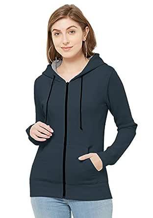 Women's Fleece Cotton Hooded Stylist Winter Wear Jacket Sweatshirt with Pocket Navy