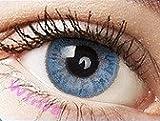 """Farbige Kontaktlinsen Jahreslinsen blau hellblau """"Carribean Blue"""" gute Deckkraft ohne Stärke mit Aufbewahrungsbehälter"""