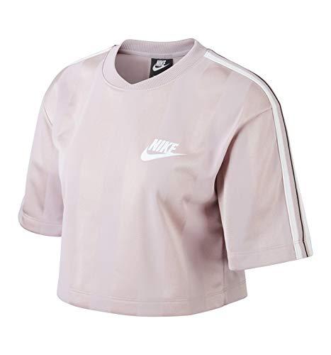 Nike Running Short Sleeve Top (Nike Damen W NSW TOP Short Sleeve SHDW STRP T-Shirt, Plum Chalk/White, S)