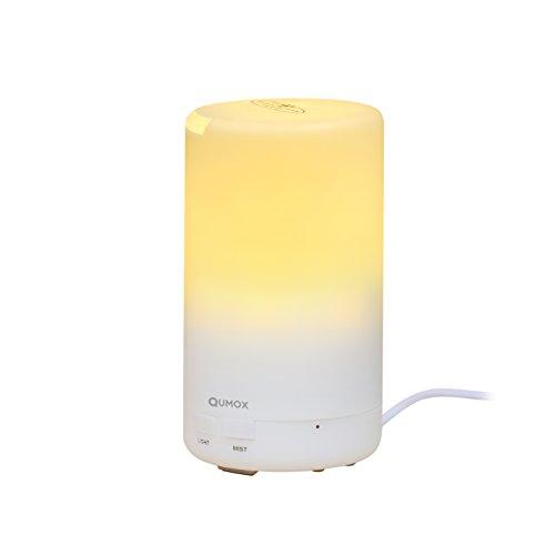 QUMOX Aroma Diffuser Ultraschall Luftbefeuchter Aromatherapie Ätherischesöl Oil Diffusor LED Lichter verstellbarer Nebel Modus (Aromatherapie Kalt-warm)