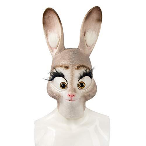 Halloween Weihnachtsmaske Magisches Tier Stadt Judy Rabbit Mask Headgear Halloween Bühnenmaske Horrormaske Bitte reinigen Sie die Maske vor dem Tragen Masken (Color : Yellow, Size : 44CM/17inch)