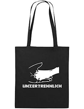 Comedy Bags - UNZERTRENNLICH - HAND PFOTE Hundeliebe - Jutebeutel bedruckt, Baumwolltasche zwei lange Henkel aus...
