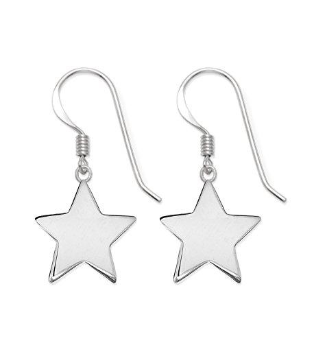 Pendientes estrella plata ley diseño aguja Heather