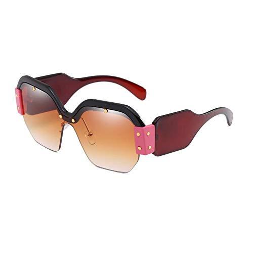Yuanz Half Frame Sonnenbrillen Frauen Big Frame Square Sonnenbrille Retro Pink Shades Female Sonnenbrillen,C7