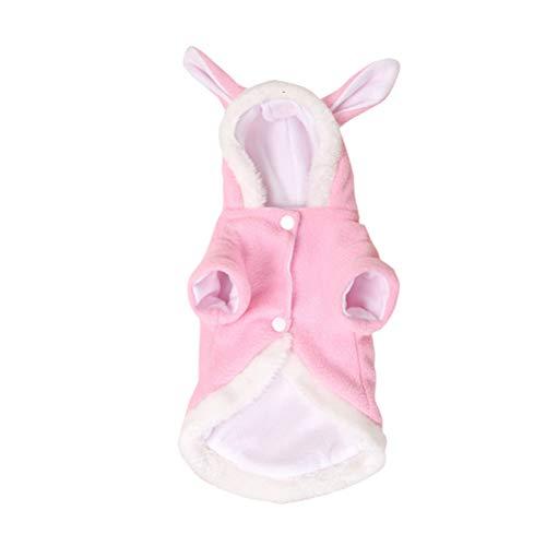 Kostüm Hunde Ohren Kaninchen Für - POPETPOP Haustier Kostüm Kaninchen Outfit mit Kapuze Ohren für Weihnachten Kleine Hunde und Katzen Pink
