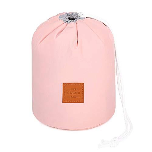 Angesolo großes Fassungsvermögen Multifunktional Kosmetiktasche Drawstring Storage Bag Barrel Kulturbeutel Reise tragbar rosa (Patent No 004047397-0001)