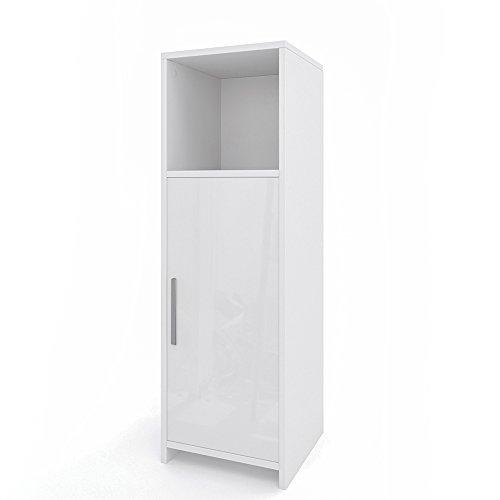 VICCO Badezimmerschrank KIKO Unterschrank Waschbeckenunterschrank Hochschrank Badmöbel Schrank Midi-Schrank Badregal (Weiß Hochglanz, Midi-Schrank)