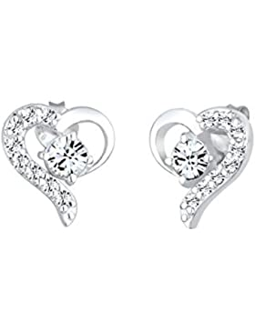 Elli Damen-Ohrstecker Herz 925 Sterling Silber Swarovski Kristall
