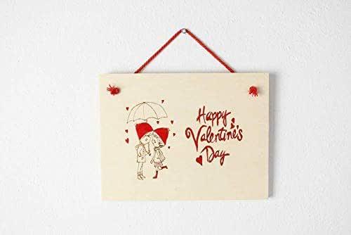 Targa San Valentino regalo personalizzato in legno disegno coppia fidanzati