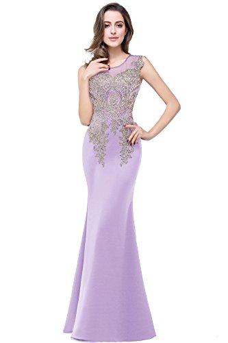 Babyonline- Damen Elegant Ämellos Abendkleid mit goldener Blumenstickerei Bodenlang 32-46 Hellviolett