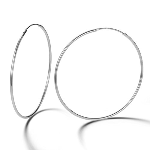 Pendientes De Aro para Mujer Plata de ley 925 círculo Aretes Pendientes Hoops - Diámetro: 45 mm