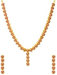 Voylla Traditional Brass With Yellow Gold Plated Cubic Zirconia Necklace Sets For Women - B077MKD5H6