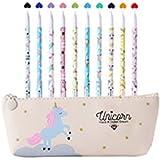 Unicorno Penne,Southstar 10 Unicorno Penne di Colori e 1 Astuccio per Matita Unicorno per Amanti dei Fenicotteri e Degli…