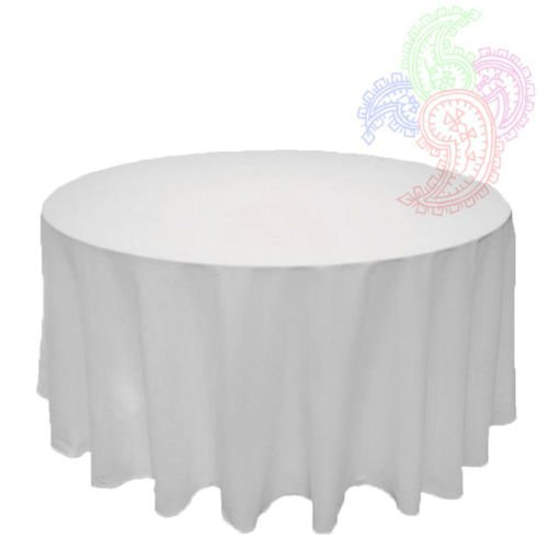 White Round Tablecloth Linen Ban...