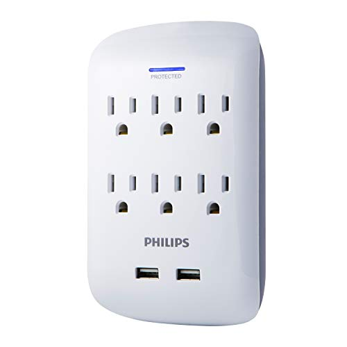 PHILIPS Surge Protector with USB Charging, 6 Outlet, 2 USB Ports, Wall Mount, 900 Joules, 2.1AMP, 10 Watt, Charges Smartphones, White, SPP6263WB/37 -