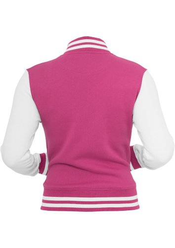 URBAN CLASSICS Ladies 2-tone College Sweatjacket, pink/white Pink/White