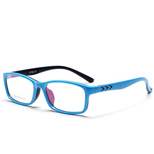 Zebuakuade Kinder Silikon rutschfeste Gläser Nicht verschreibungspflichtigen Brillen für Frauen Männer (Color : Blue)