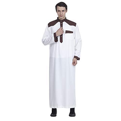 QHJ Männer Roben Muslim Islamische Kleidung Für Männer Arabien Plus Größe Abaya Dubai Kaftan Jubba ()