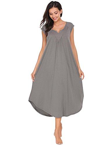 cooshional Damen Nachthemd Baumwolle Schwarz Nachtkleid Lang Sleepwear Nachtwäsche (Langen Nachthemd Schwarzen)