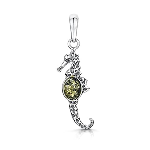 Amberta 925 Sterling Silver with Baltic Amber – Seahorse Pendant - Green Colour