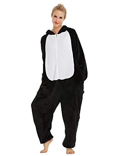 chuangminghangqi Surpyjama Panda Combinaison Costume Jumpsuit Flanelle Cosplay Soiree de Deguisements Halloween pour Adulte Unisexe (Husky Noir, Large)