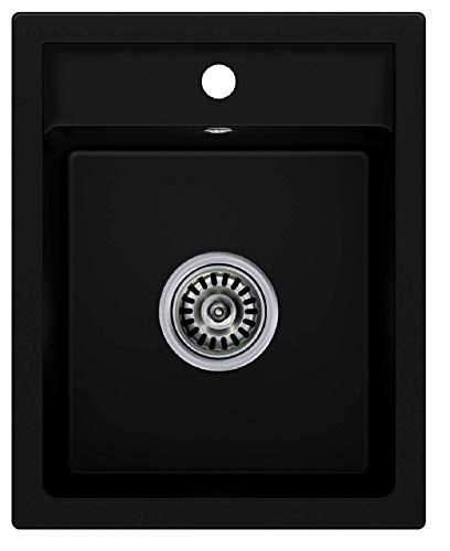 Granitspüle mit Siphon Riga Einbauspüle Spülbecken Schwarz Küchenspüle Unterschrank ab 40cm Spüle aus Granit für Küche mit Ablaufgarnitur und Überlauf von Primagran