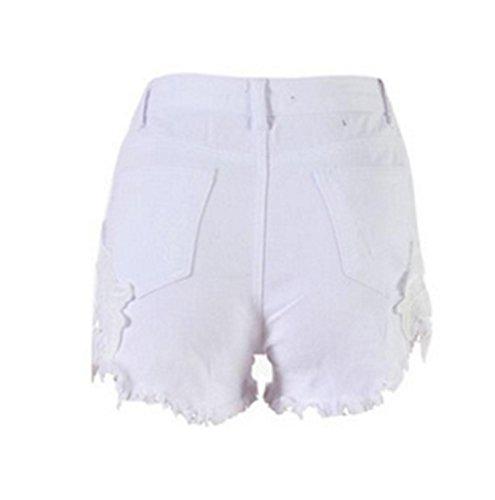EMIN Damen Shorts Jeans Spitze Häkeln Tassel Damen Jeans Shorts Hohe Taille Denim Shorts Lochjeans Jeans Hot Pants mit Taschen Damen Hotpants Jeans, Weiß, Asien XL (empfehlen EU40) (Denim Spitze,)