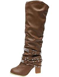 Minetom Stivali di Pelle Donna Boots Tacchi Alti Scarpe Stivali Lunghi Moda  Rivetto Casual Sexy Autunno 37f5bc628d5