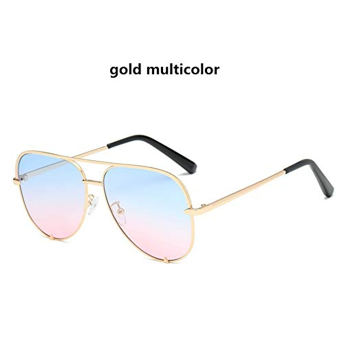 PLGRC Mode Frauen Große Runde Fahren Sonnenbrille Männer Brillengestell Retro Uv400 Gold Multicolor