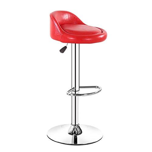 XIGG Barhocker HöHenverstellbar, Barstuhl mit Rückenlehne Höhenverstellbar, 360° Frei Drehbar, für Bars, Theken, Küchen und Wohnungen, PU Leder/Rot