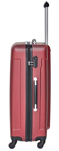 Packenger Kofferset - Travelstar - 3-teilig (M, L & XL), Rot, 4 Rollen, Koffer mit Zahlenschloss, Hartschalenkoffer (ABS) robuster Trolley Reisekoffer - 3