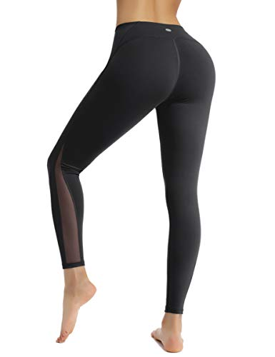 HAPYWER Sporthose Damen Yoga Training Gym Sport Leggings Lang Blickdicht Yogahosen(Schwarz,L)
