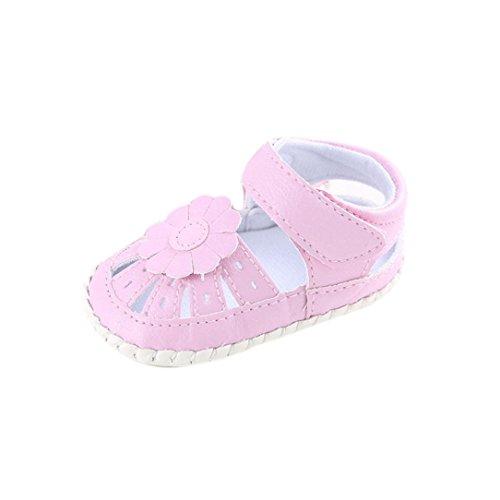 BZLine® Baby Mädchen Blumen Schuh rutschfest weiche Sohle Schuhe Pink