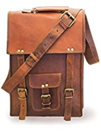 "ECHO 100% Pure Leather 15"" Travel Casual Office Shoulder Unisex Brown Ipad Bag"