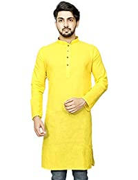 Dolphin Miles Mens Cotton Full Sleeves Stand Collar Plain Casual Traditiona Wear Yellow Kurta