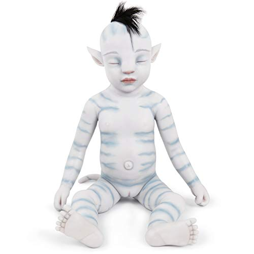Vollence 20 Inch Na'vi Avatar Sleeping Full Body Silicone Baby Doll with Pointed Ears,Full Weighted Similar Handmade Real Baby doll, Hyper Realistic Silicone Baby doll- Girl