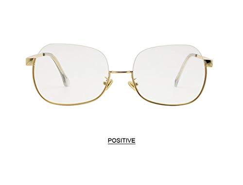 WSKPE Sonnenbrille,Anti Blaues Licht Brillengestell Hälfte Frame Sonnenbrille Frauen Männer Klar Sonnenbrille Uv400 Gold Frame Klare Linse