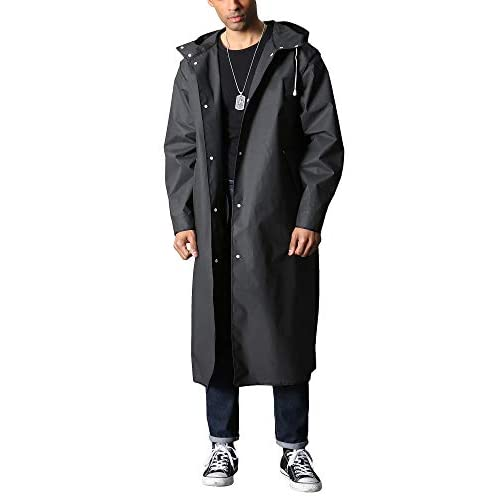 31L4rh8o4pL. SS500  - TACVASEN Men's Long Raincoat Waterproof Reusable Rain Poncho with Hood Hiking Fishing Rain Jacket