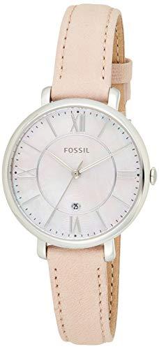 FOSSIL Montre Jacqueline femme - Montre-bracelet boyfriend avec cadran en nacre rose et bracelet en cuir blush - Boîte de rangement et pile incluses