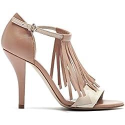 PoiLei Ria - Damen Schuhe / Fransen-Sandalette - High-Heel mit Stiletto-Absatz nude