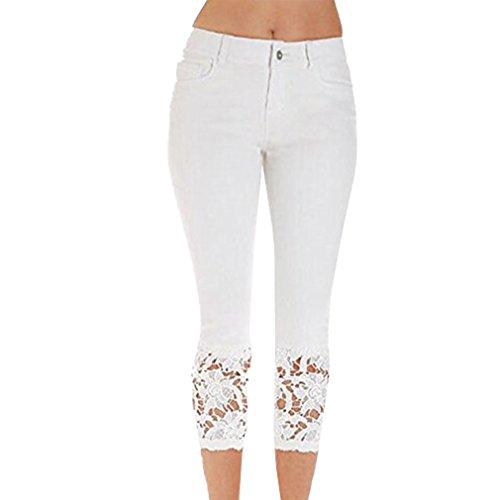 Hibote Jeggings Femme Taille Haute Jeans Droite Jeans avec Dentelle 7/8 Skinny Pantalons Décontracté Stretch Denim Pantalon Sexy Crayon Pantalons