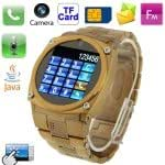 TW818 Golden, 1.6 inch TFT Touch Screen Stainless Steel Watch Phone with Camera, Bluetooth / JAVA / MSN / QQ Function, Single SIM Card, Quad band, Network: GSM850/900/1800/1900MHz