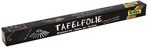 Preisvergleich Produktbild Folia 390090 - Tafelfolie 135µ, 1 Rolle 45x200cm, schwarz, selbstklebend, inklusive 10 Kreiden
