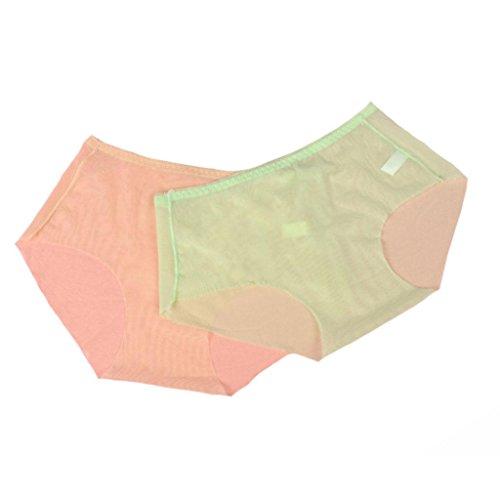 Damen Unterwäsche ultradünne Spitze Maschengarn transparente mittlere Taillenschriftsätze 6 Stück Verpackung (All-Code) B